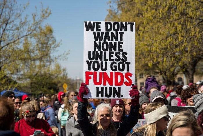 Teachers strike outside the Oklahoma Capitol on April 3.