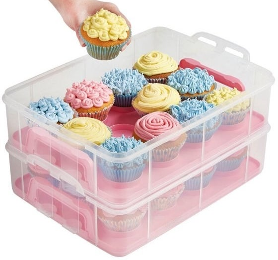 A portable cupcake carrier to bring along when you're feeling kind enough to share the thing you took the time to bake.