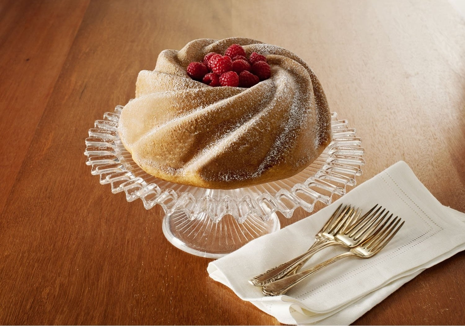 A bundt pan to simply pour your batter into, bake, take out, and voila — you get a beauty like the one below.