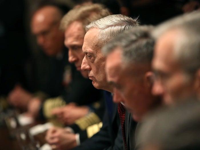 Secretary of Defense Jim Mattis at a White House briefing on Syria Monday.