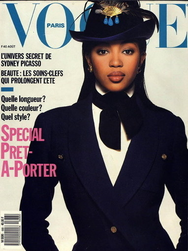 Naomi Campbell became the first black model to grace the cover of Vogue Paris.