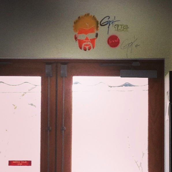 Guy Fieri gets spray painted on the wall of every diner, drive-in, and dive he's eaten at.
