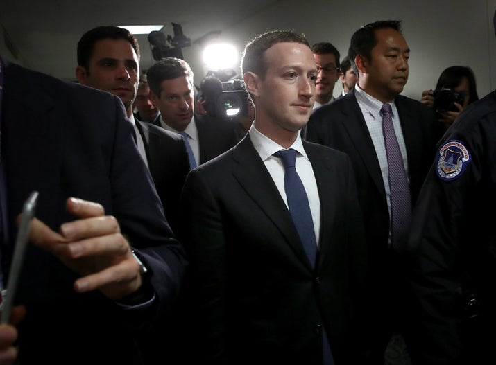 Mark Zuckerberg leaves the office of Sen. Dianne Feinstein (D-CA) after meeting with her on Capitol Hill the day before his scheduled hearing on April 10 before the Senate Judiciary and Commerce committees.