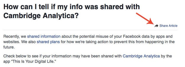 """There's even an option to """"share this article"""" with your friends."""