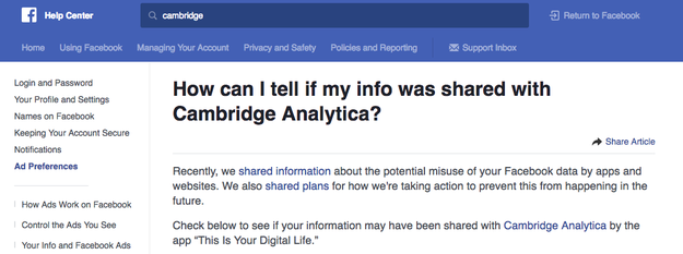 If you didn't receive a notification, then you can still check to see if your data was shared with Cambridge Analytica by going to the Help Center.
