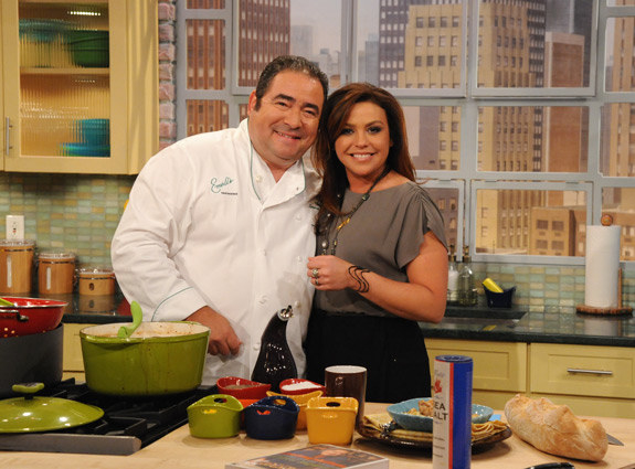 Rachael Ray once set Emeril's kitchen on fire.