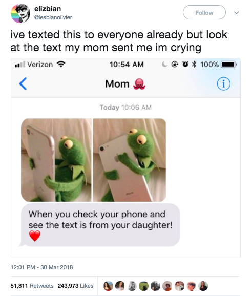 This daughter received an adorable meme text from her mom: