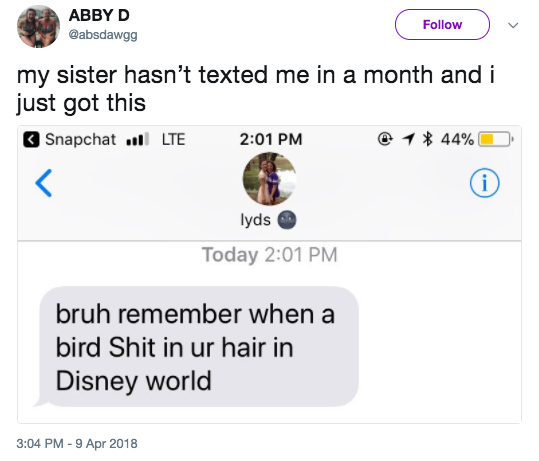 This girl hadn't heard from her sister in a month and then got this: