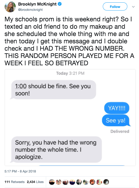 This girl received this text, letting her know that she had been played for a whole week: