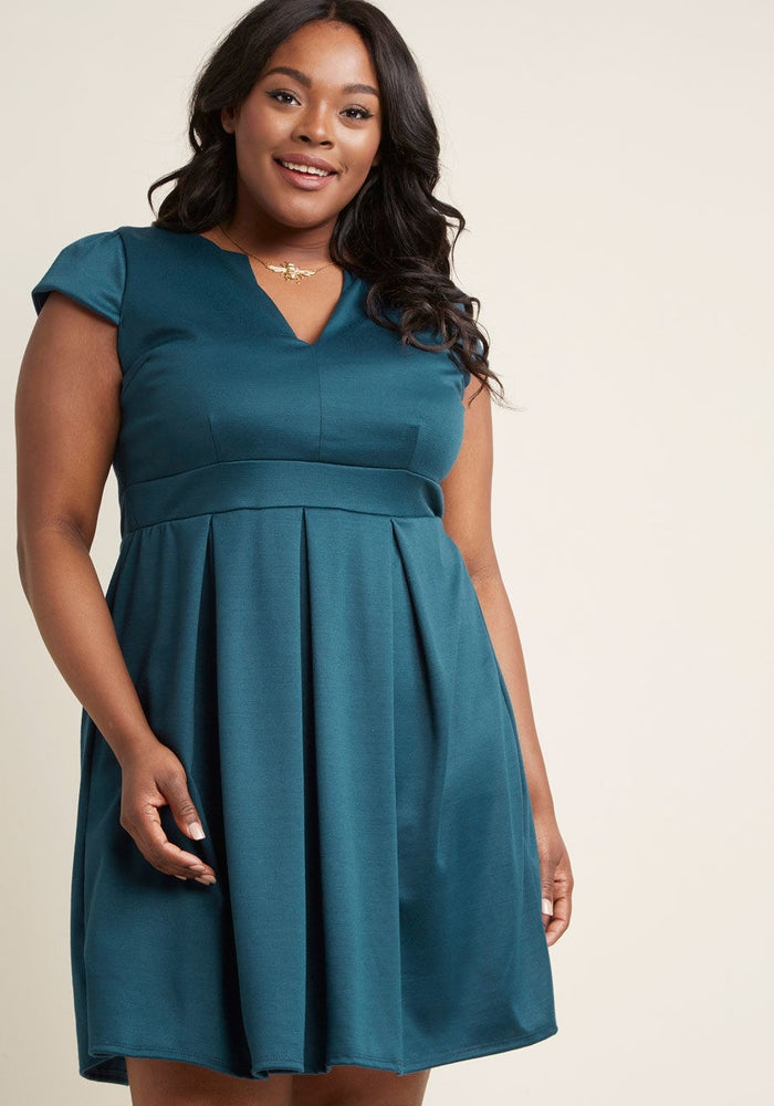 """Promising review: """"I'm so happy I bought this dress, it has become one of my go-to staples. The teal color is even more beautiful in person and it is the perfect grab and go dress, no accessories needed!"""" —E_LizzieGet it from ModCloth for $39.99 (originally $55; available in sizes S-4X)."""