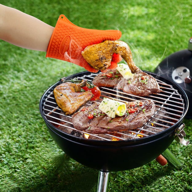 Heat-resistant gloves to make turning kabobs a cinch.