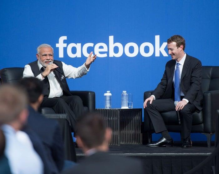 Indian Prime Minister Narendra Modi and Facebook CEO Mark Zuckerberg at Facebook headquarters in Menlo Park, California, on Sept. 27, 2015.
