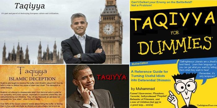 Anti-Muslim memes referencing taqiyya.