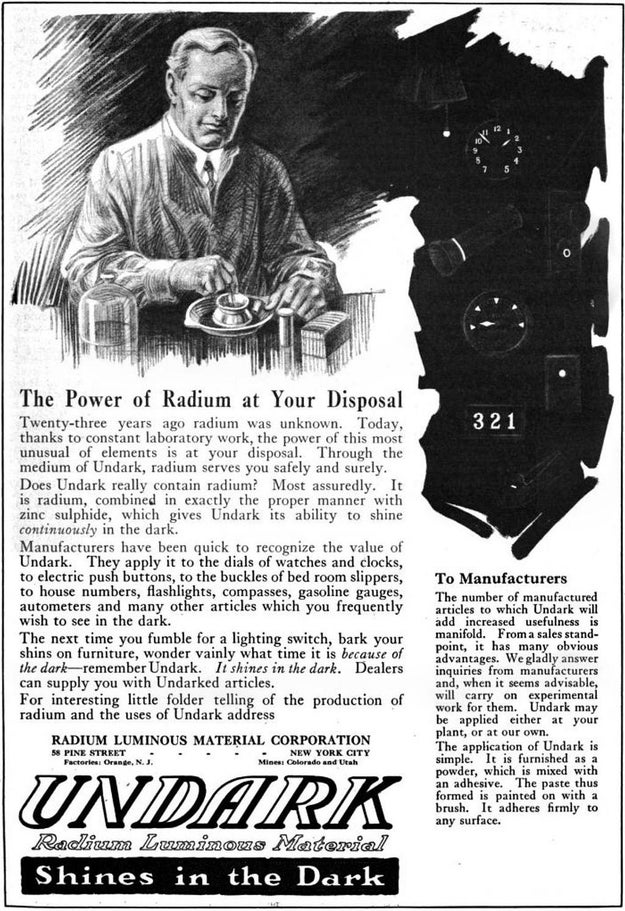 In 1928, Sabin Von Sochocky, one of the founders of the U.S. Radium Corporation and the man who had actually invented the radium-laced paint, died from exposure to his own product.