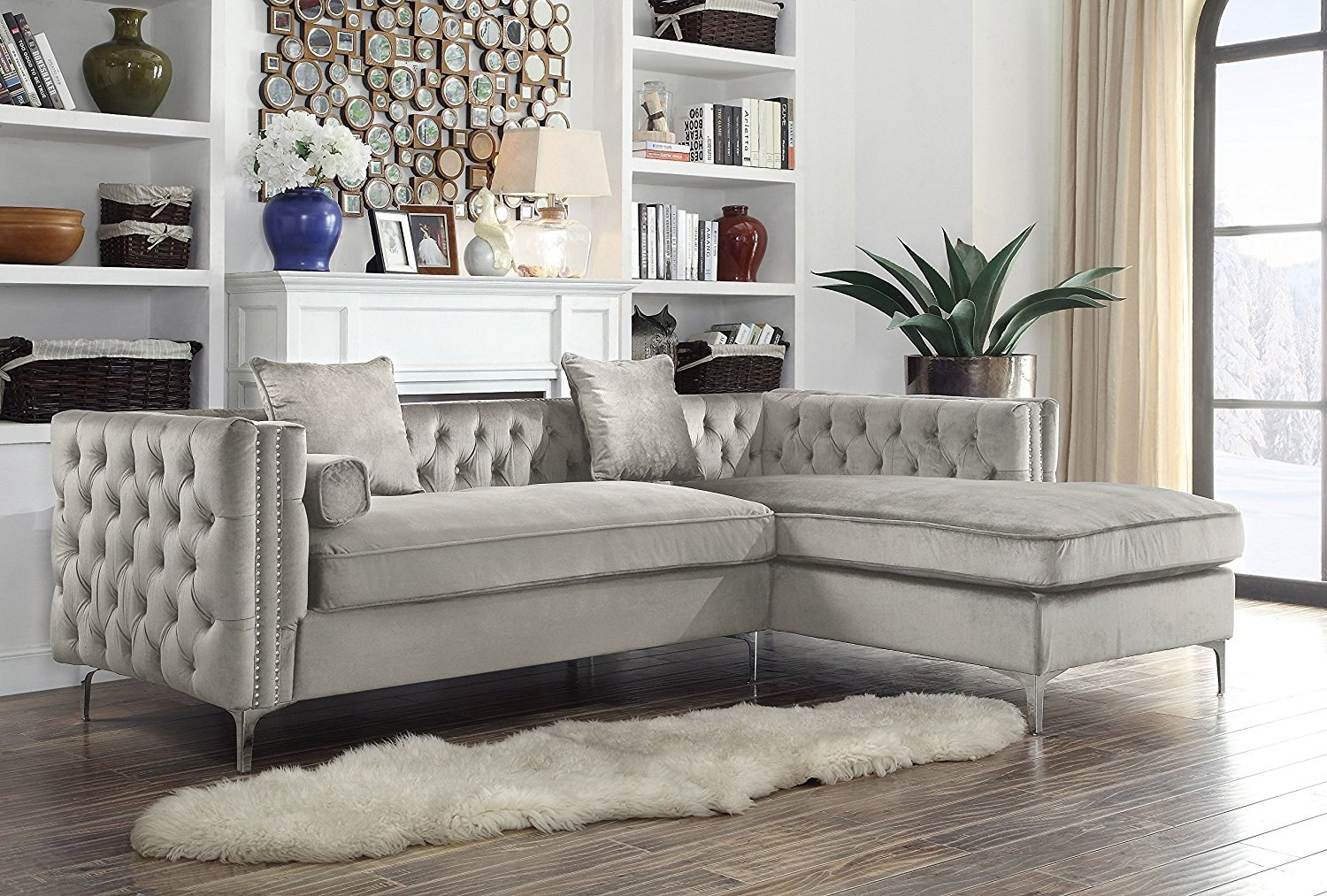 1. A Contemporary Velvet Sectional For Turning Your Living Space Into The  Most Beautiful Spot Ever.