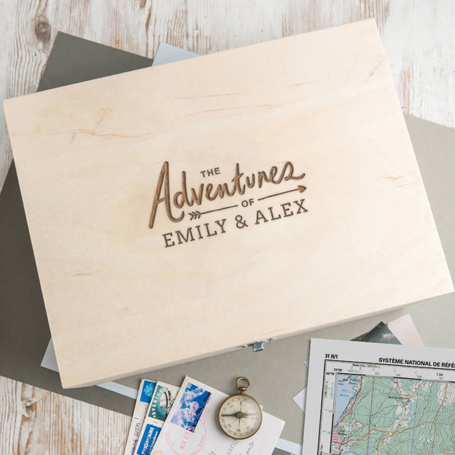 A Personalized Memory Box With Both Of Your Names For Keeping Favorite Memories Together Think Ticket Stubs The Best Selfies And Letters You Sent
