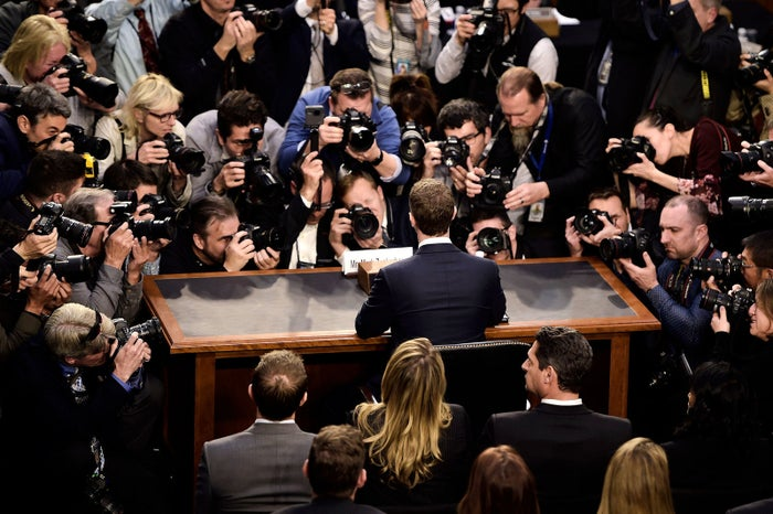 Facebook CEO Mark Zuckerberg arrives to testify before a joint hearing of the US Senate Commerce, Science, and Transportation Committee and Senate Judiciary Committee in Washington, DC, on April 10.