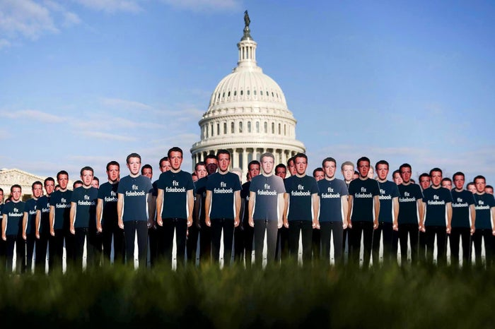 Life-sized cutouts depicting Facebook CEO Mark Zuckerberg are displayed by advocacy group Avaaz, on the southeast lawn of the Capitol in Washington, DC, on April 10, ahead of Zuckerberg's appearance before a Senate Judiciary and Commerce committees joint hearing.