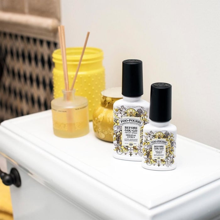 """Get it from Amazon for $10.99 (available in tooonssss of scents).Promising review: """"One bathroom in an apartment just isn't enough for two adults with a healthy colon. Enter Poo-Pourri. As this was the first time trying the product, I tried the original scent. It has an amazing lemon scent. It is very fresh and not overpowering. It is not synthetic smelling. With most room sprays, you end up just smelling flowery poo. This masks the smell completely. I can walk in the bathroom 30 seconds after my boyfriend and only smell lemon."""" —Alison H."""
