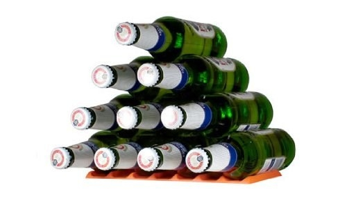 pyramid of beer bottles stacked horizontally on a flat surface with the silicone slatted holder