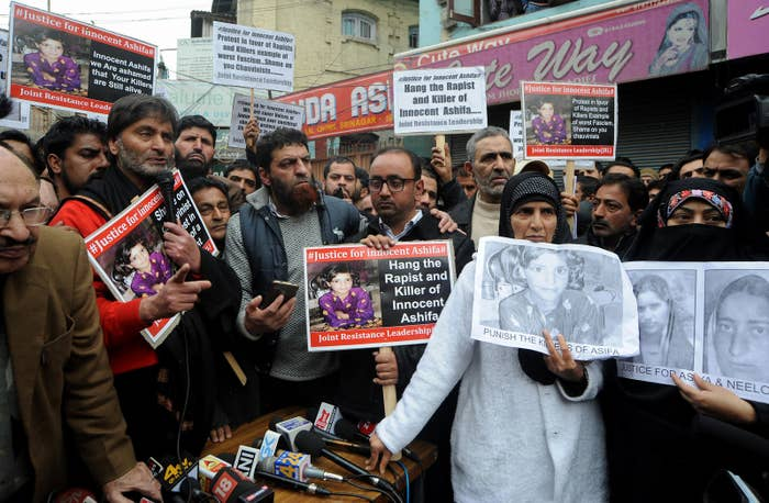 Protesters demand the death penalty for the killers of the girl.