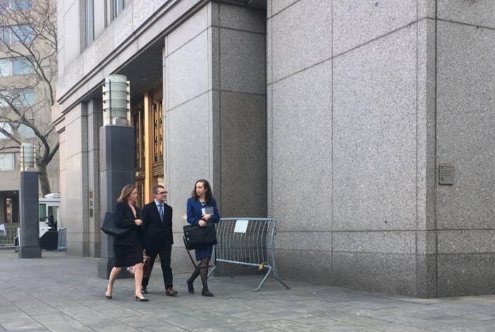 President Trump's lawyers leaving court April 13, 2018.