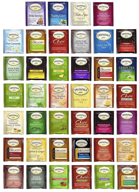 the variety of tea packs