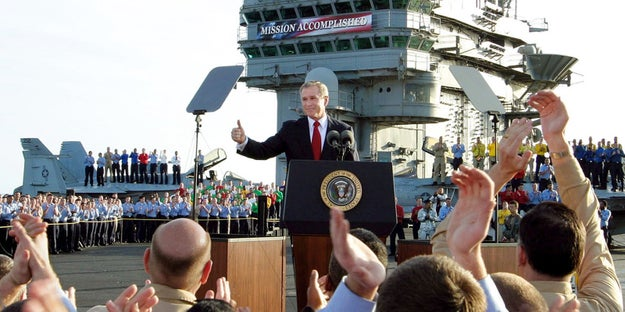 However, as the Bush White House acknowledged six months after the speech in 2003, the administration were the ones who manufactured the sign.