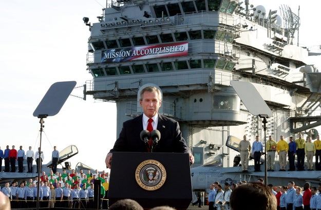 """""""Major combat operations in Iraq have ended,"""" said Bush. """"In the battle of Iraq, the United States and her allies have prevailed."""""""
