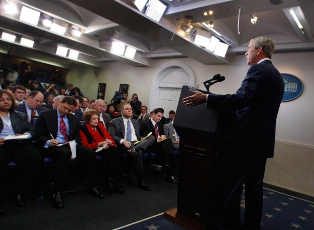 In his final press conference as president, Bush described the banner as one of the mistakes of his presidency.
