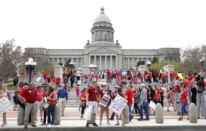 """Kentucky public school teachers rally for a """"day of action"""" at the Kentucky state Capitol to try to pressure legislators to override Kentucky Governor Matt Bevin's recent veto of the state's tax and budget bills."""