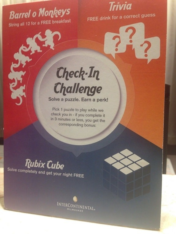 This hotel will give you a night for free if you can solve a Rubix cube during check-in.