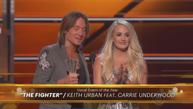 """Following her performance, Carrie won Vocal Event of the Year alongside Keith Urban for their duet """"The Fighter."""""""