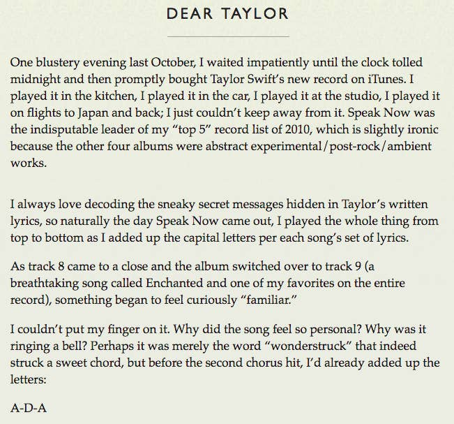 """Well, Adam is a huge fan of Swift, and he loves decoding her lyrics just as much as we do. Young got a feeling """"Enchanted"""" was about him, ..."""
