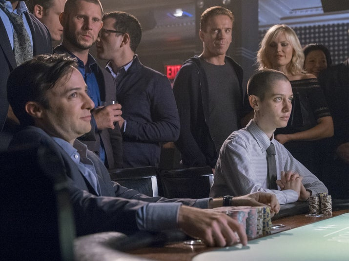 """Taylor (Asia Kate Dillon) at the poker table in """"Optimal Play."""""""