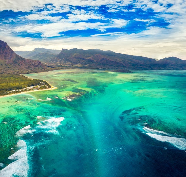 Off the coast of Mauritius, there's an underwater waterfall where the sand cascades down to the ocean floor.
