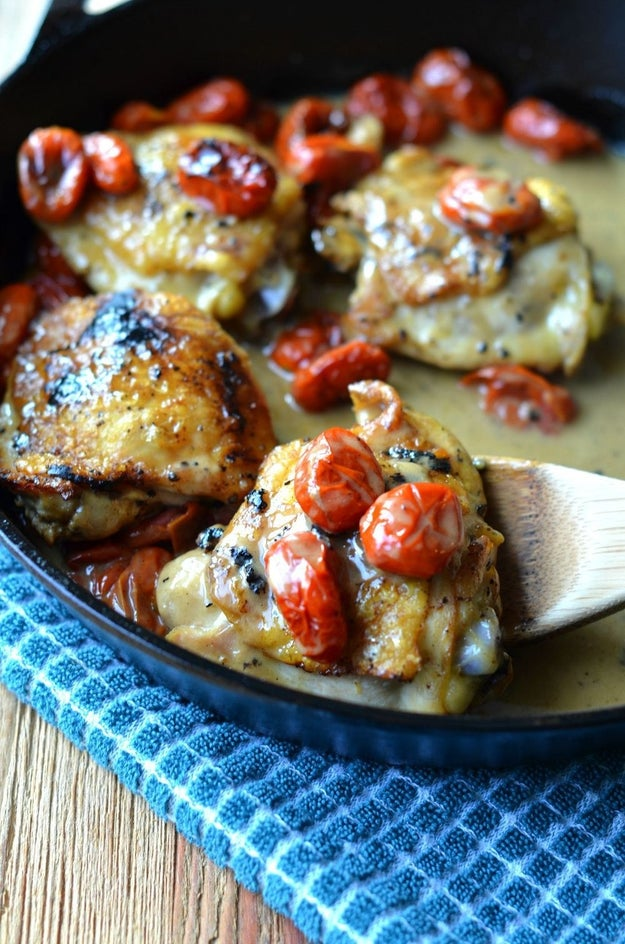 Chicken Thighs with Blistered Tomatoes
