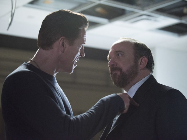 "Bobby ""Axe"" Axelrod (Damian Lewis) and Chuck at the end of Season 1."