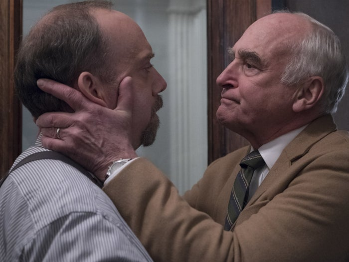 "Paul Giamatti as Chuck Rhoades and Jeffrey DeMunn as Charles Rhoades Sr. in the Billions episode ""Hell of a Ride."""