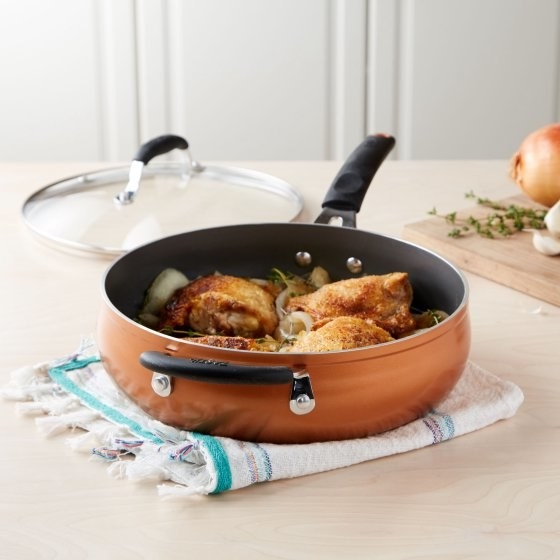 A 4-quart saute pan you'll come to depend on. It's perfect for single pan meals.