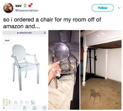 Or a chair for ANTS who prefer a CLEARER type of CHAIR: