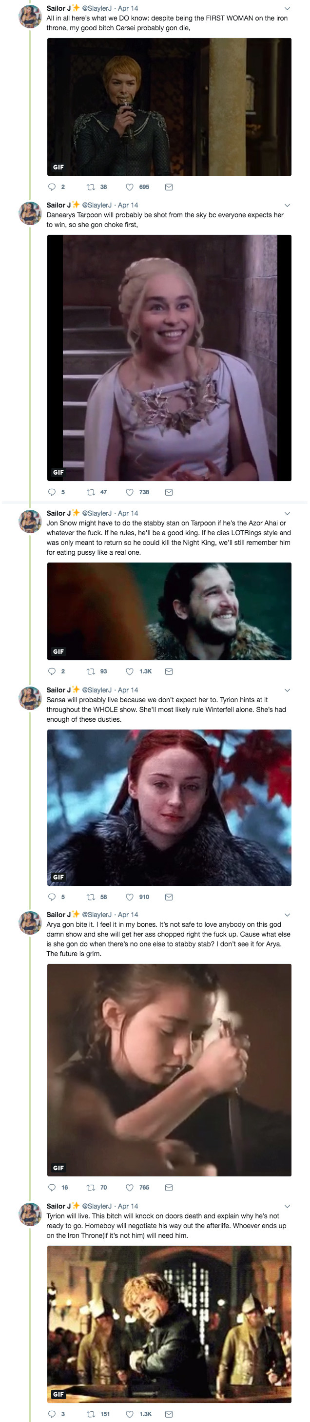 """This """"Game Of Thrones"""" Fan's Predictions For Season 8 Are So Relatable And Funny"""