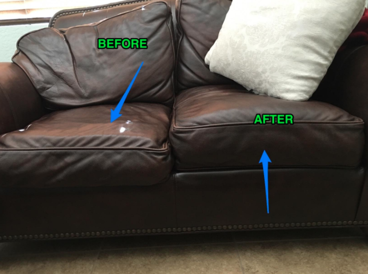 before and after shot of a couch that's been plumped up with cushion inserts
