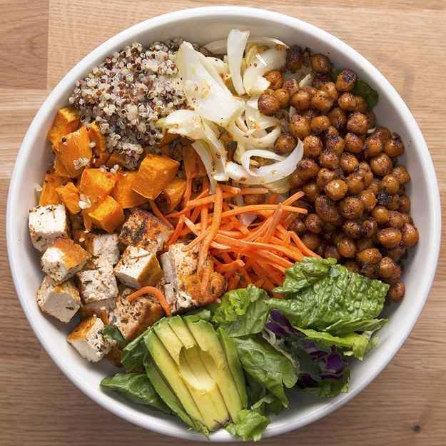 2 servingsINGREDIENTS225 g (8 oz) tofu1  sweet potato, peeled and cubed1  onion, sliced2 cloves garlic, minced1 tablespoon oil salt, to taste pepper, to taste200 g (1 cup) chickpeas1/2 teaspoon salt1/2 teaspoon pepper1 teaspoon chili powder1 teaspoon garlic powder25 g (1/4 cup) carrot, shredded255 g (1 1/2 cups) quinoa, cooked35 g (1 cup) leafy greens, whatever you have available1  avocado, sliced1 lemon lemon juiceMarinade2 tablespoons vegetable oil1/2 teaspoon sesame oil1 teaspoon hot sauce2 teaspoons dried thyme1 teaspoon paprika1/2 teaspoon saltPREPARATION1. Preheat oven to 400ºF (200ºC).2. Combine marinade ingredients in a small bowl and whisk to combine.3. Add the marinade and tofu to a container and marinate for at least 30 minutes, up to a day.4. Lay sweet potato, onion, and garlic on a baking sheet and drizzle with oil, salt, and pepper.5. Bake for 20-25 minutes.6. Add the chickpeas, salt, pepper, chili powder, and garlic powder to a bowl and stir to combine.7. Transfer chickpeas to a skillet and cook over medium heat for about 10 minutes. Set chickpeas aside.8. Fry the tofu in the same pan for about 10 minutes on each side.9. Slice tofu to your preference.10. Combine the quinoa, greens, sweet potatoes, onions, chickpeas, carrots, tofu, and avocado in a medium-large bowl and top off with lemon juice11. Enjoy!Inspired by:https://www.buzzfeed.com/michelleno/14-buddha-bowl-recipes-that-will-satisfy-every-craving?utm_term=.vqVXGOrJ2#.mbGpva2Ad