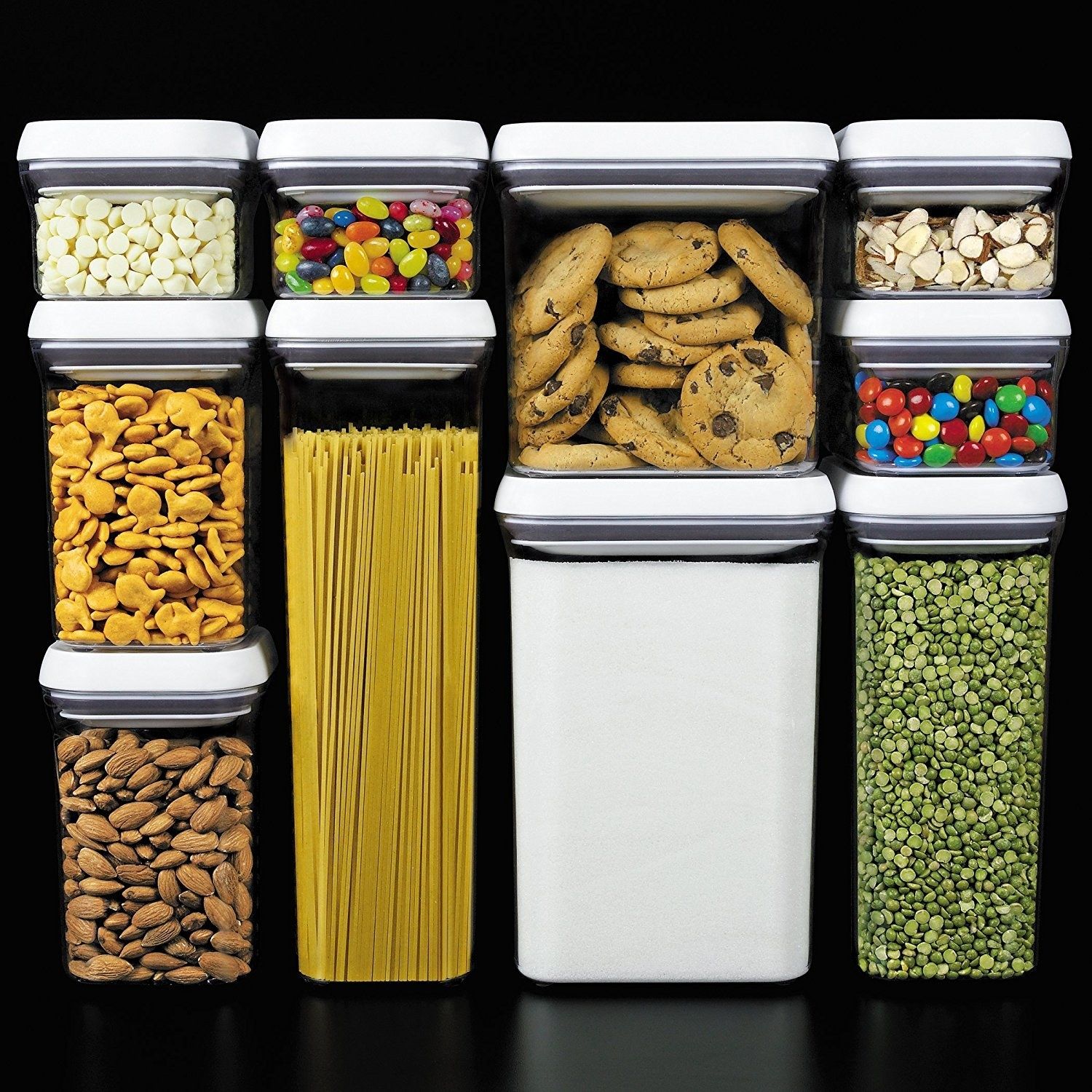 10-piece set of clear storage containers