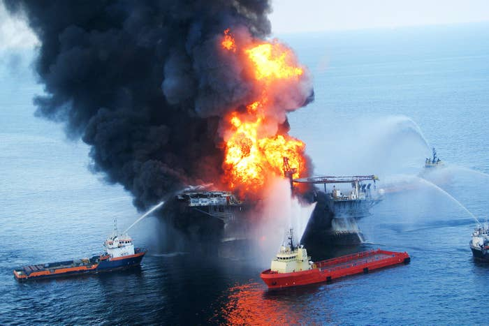 Fire boats at the offshore oil rig Deepwater Horizon, April 21, 2010.