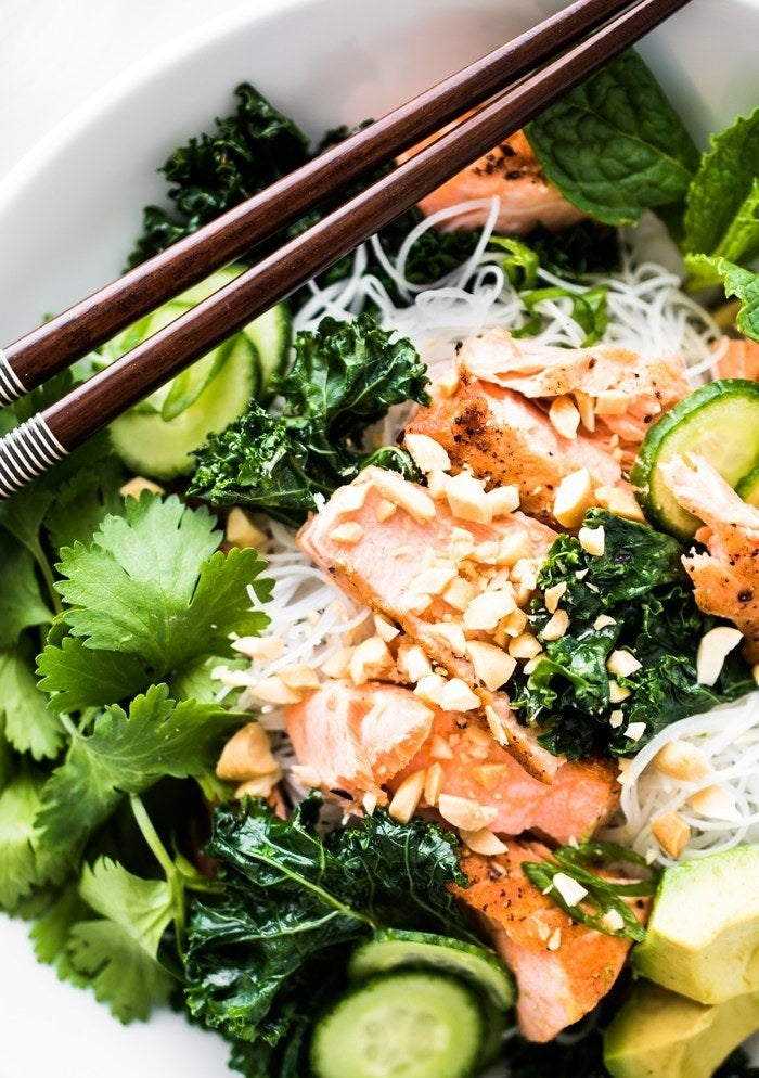 Vermicelli Noodle Bowl with Pan-Seared Salmon