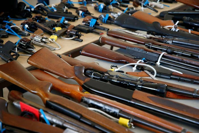 Guns at a gun buyback event in Miami, Florida, on March 17.