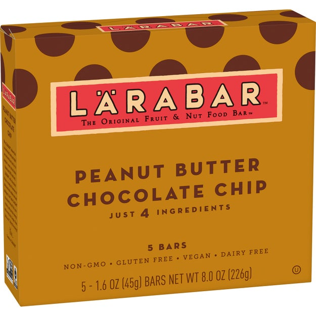 A box of vegan Larabars in the best flavor of all time – peanut butter chocolate chip. They are made with only five ingredients and you won't be able to put them down.
