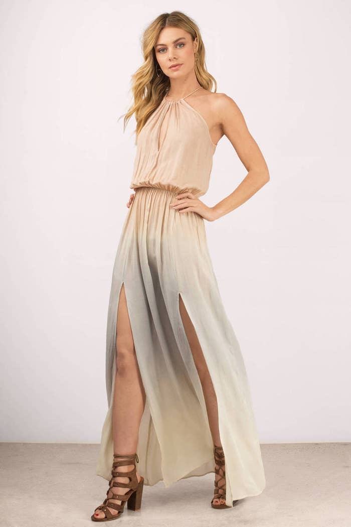 A halter maxi dress that was hand-painted by a world renowned watercolor  artist c61442120
